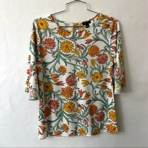 Ann Taylor White Floral Top MINT Size Small